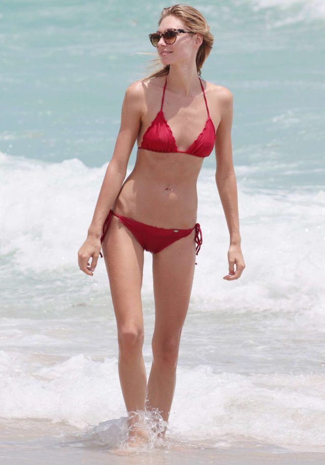 Brianna Addolorato in Red Bikini on Miami Beach