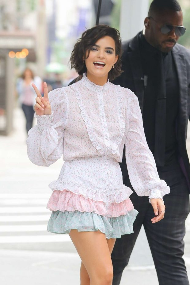 Brianna Hildebrand - Wearing a colorful mini dress out in New York