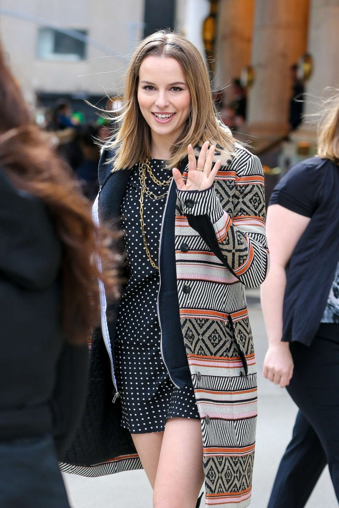 Bridgit Mendler in Mini Dress Out in NYC