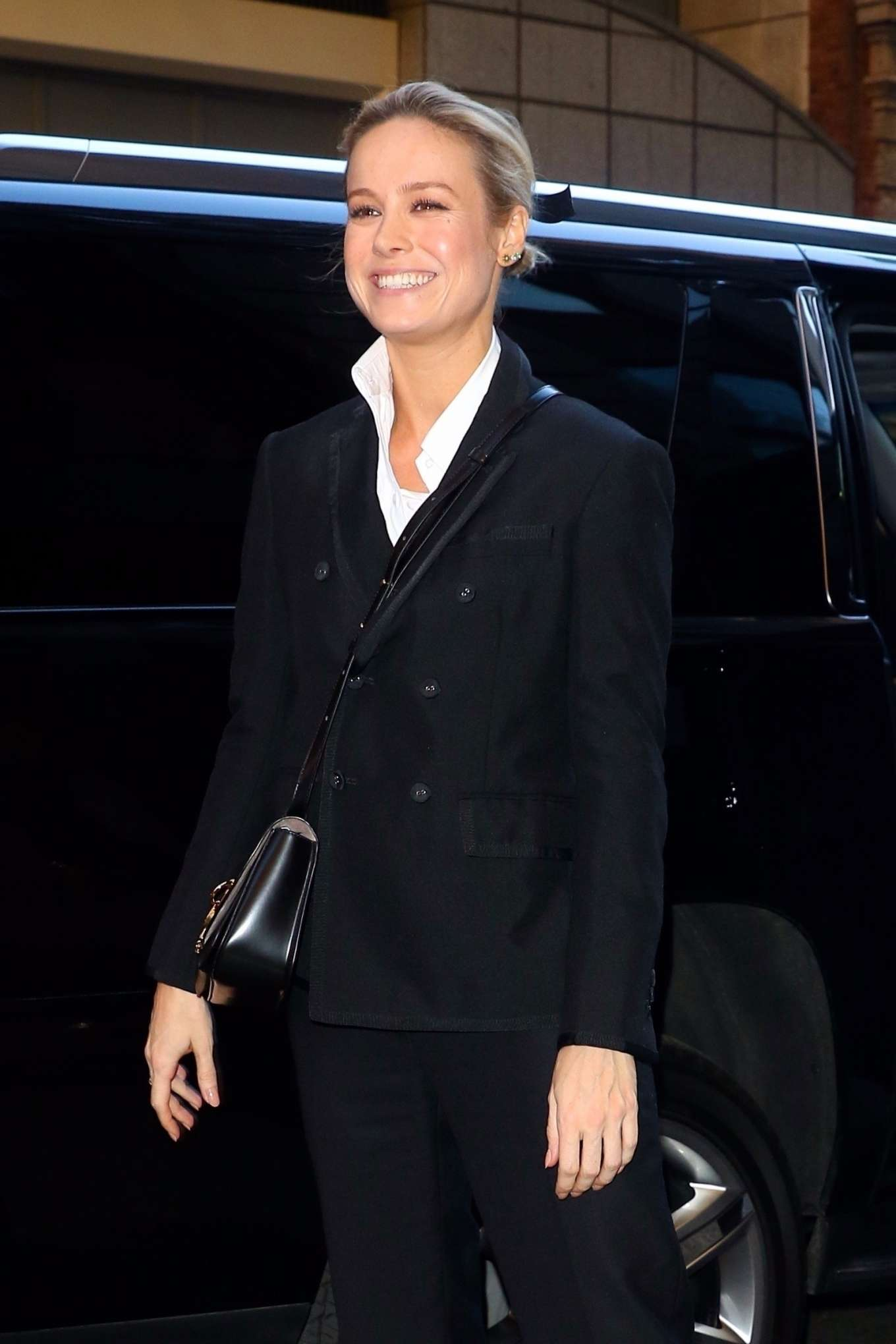 Brie Larson In Black Suit Out In New York City Gotceleb