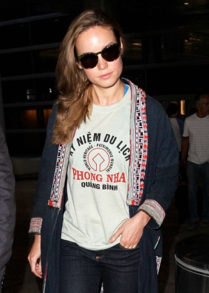 Brie Larson in Jeans at LAX Airport in Los Angeles