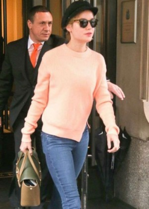 Brie Larson in Jeans Out in New York