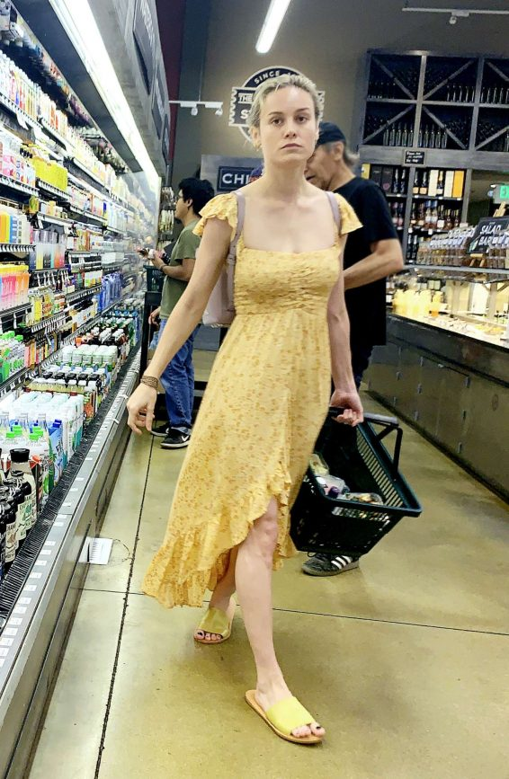 Brie Larson in Long Summer Dress - Shopping in Calabasas