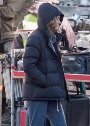 Brie Larson on set in Atlanta