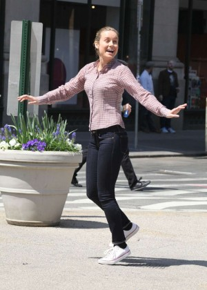 Brie Larson in Jeans on 'Basmati Blues' set in New York