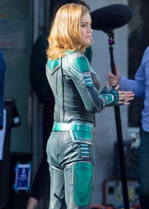 Brie Larson - Wears Suits up as Captain Marvel on set in Los Angeles