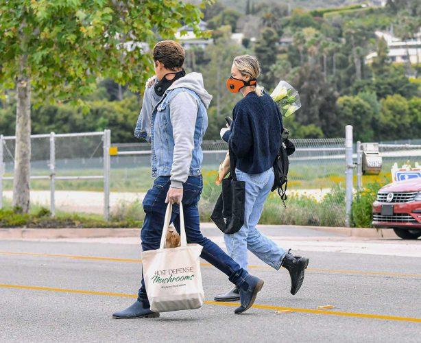 Brie Larson with Elijah Allan-Blitz - Shopping at the Farmers Market in Malibu