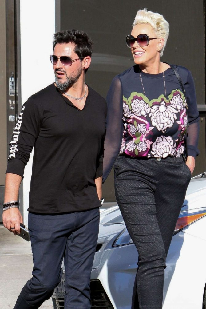 Brigitte Nielsen with her husband Mattia Dessi at Joan's On Third in Studio City