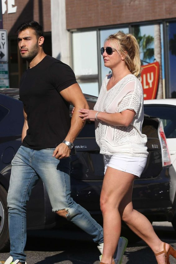 Britney Spears and boyfriend Sam Asghari - Arrives at Le Pain in Beverly Hills