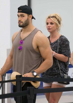 Britney Spears and boyfriend Sam Asghari - Leaves Miami Beach