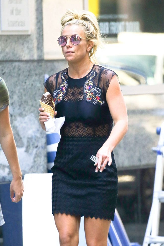 Britney Spears in Black Mini Dress out in New York City