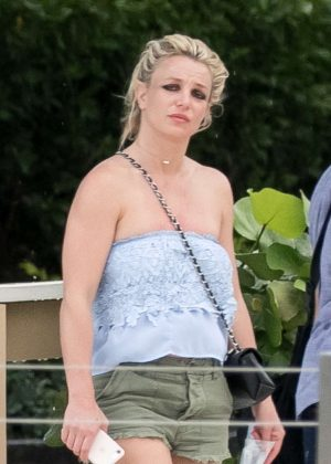 Britney Spears in Green Shorts out in Miami