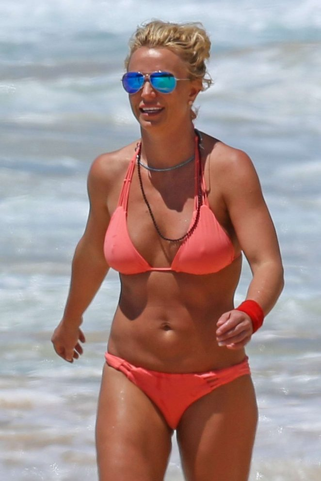 Britney Spears in orange bikini in Hawaii