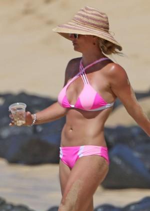 Britney Spears in Pink Bikini at a beach in Hawaii