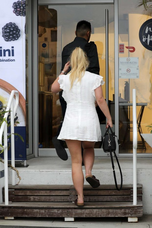 Britney Spears in White Mini Dress -02