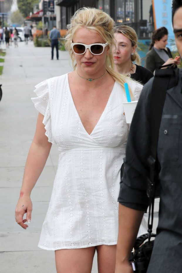 Britney Spears in White Mini Dress - Out in Santa Monica