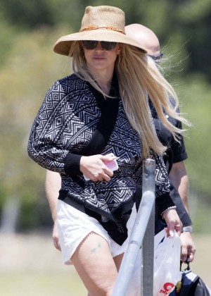 Britney Spears watches her sons play flag football