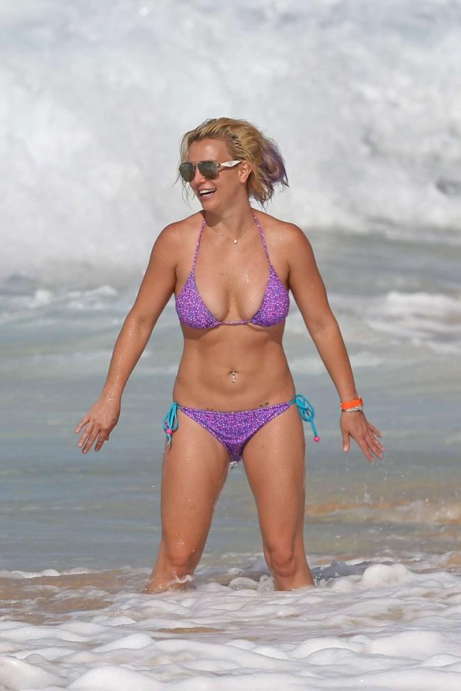 Britney Spears in Purple Bikini in Hawaii