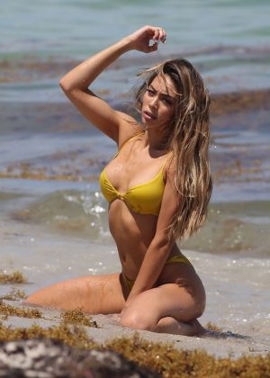Britt Rafuson in Yellow Bikini on the beach in Miami