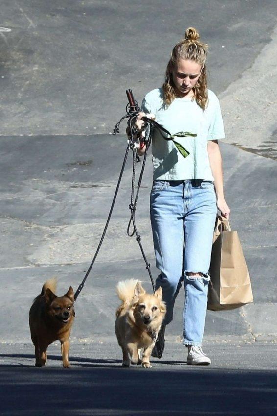 Britt Robertson - Walking her dogs in Los Angeles