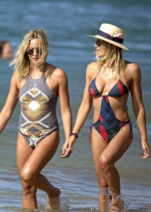 Brittany and Cynthia Daniel in Swimsuit on the beach in Hawaii