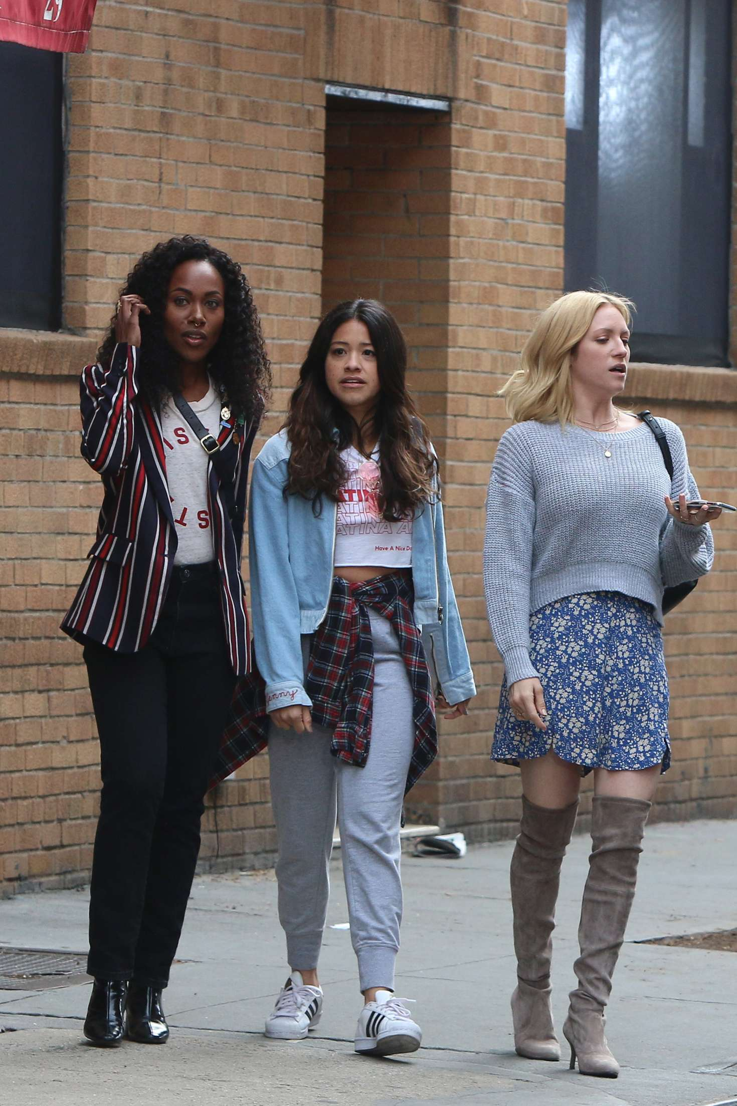 Brittany Snow DeWanda Wise and Gina Rodriguez - On the Set of 'Someone Great' in NY