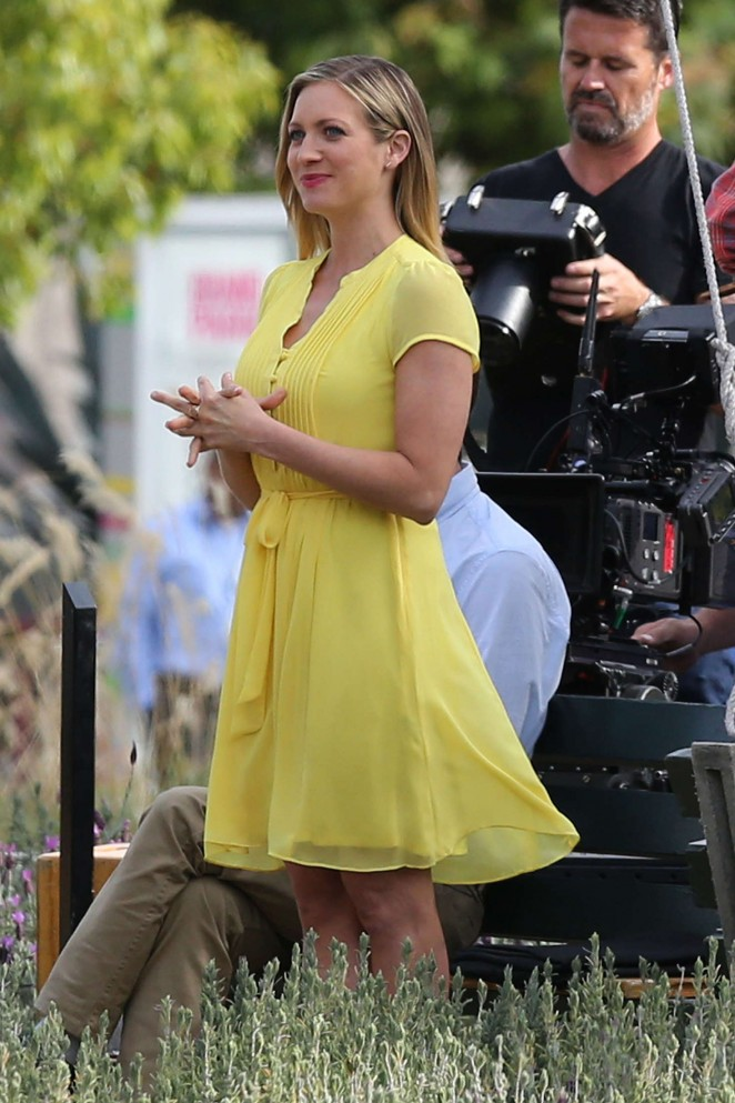 Brittany Snow in Yellow Dress Filming a commercial in LA
