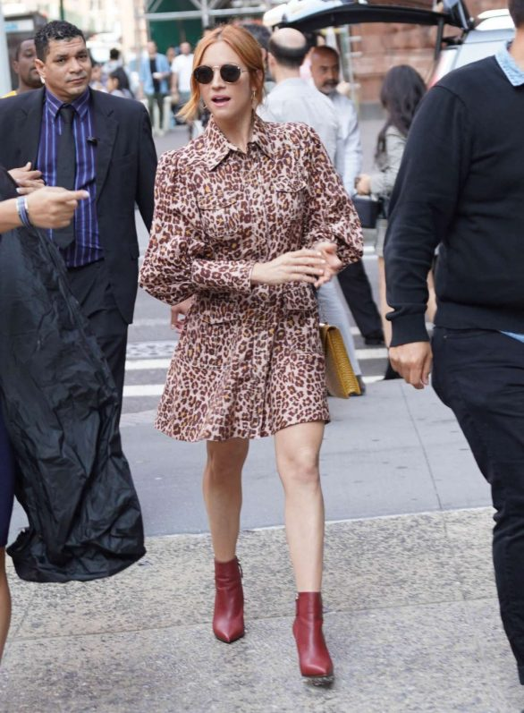 Brittany Snow in Animal Print Mini Dress - Out in NYC