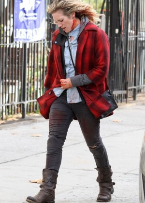 Brittany Snow on the set of 'Bushwick' in NYC