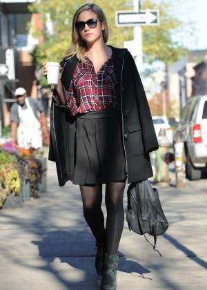 Brittany Snow in Mini Skirt Shopping in Brooklyn