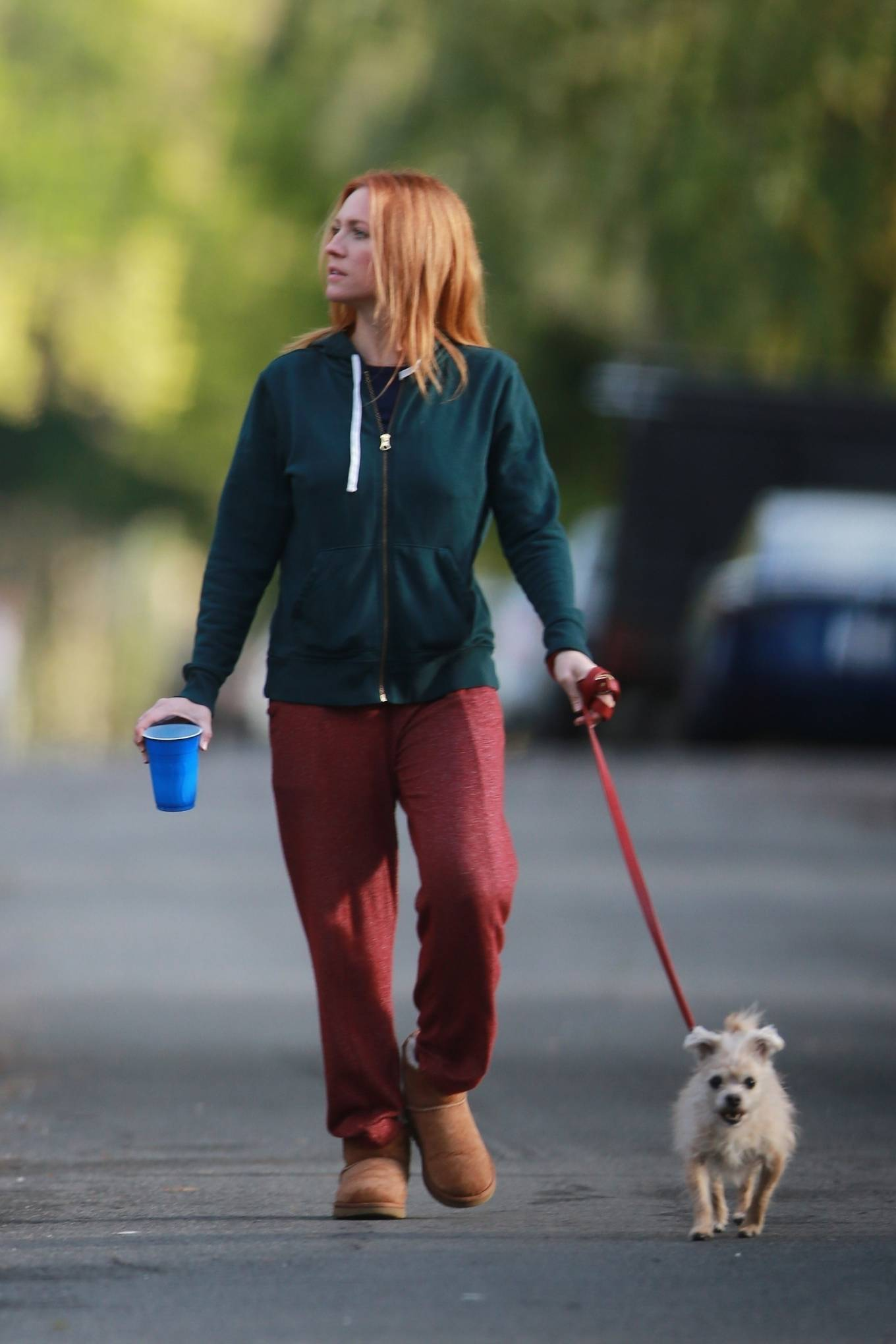 Brittany Snow - Walk her dog out in Los Angeles
