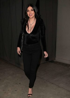Brittny Gastineau in Black at Craig's Restaurant in West Hollywood