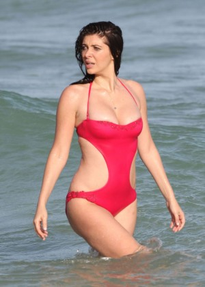Brittny Gastineau in Red Swimsuit on Miami Beach