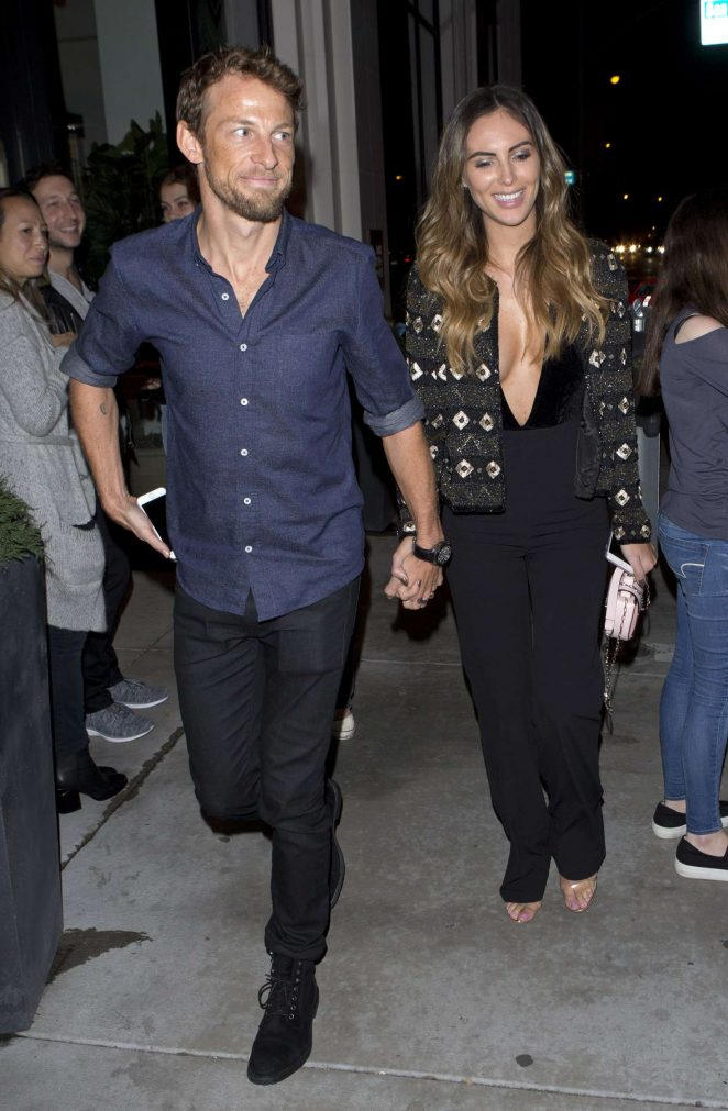 Brittny Ward and Jensen Button - Leaving Catch Restaurant in West Hollywood