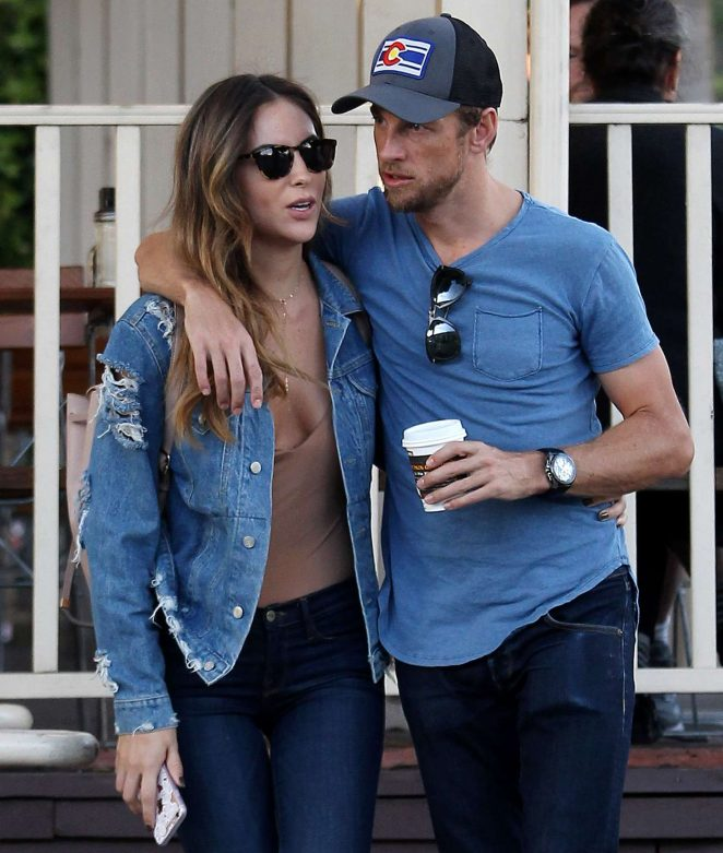Brittny Ward and Jenson Button at Le Pain Quotidien in West Hollywood