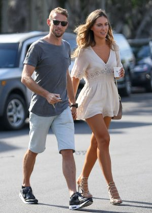 Brittny Ward with boyfriend at Alfred Coffee in Los Angeles