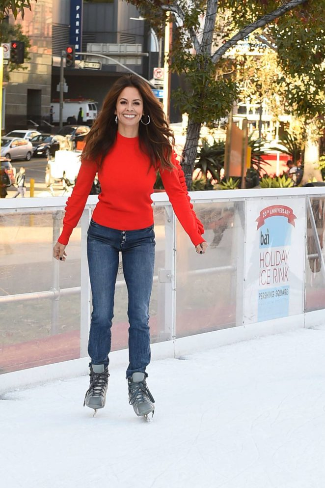 Brooke Burke at Pershing Square Ice Rink in Los Angeles