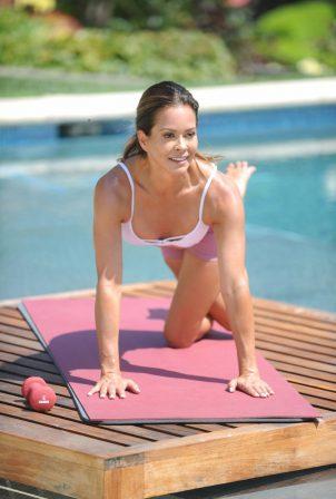 Brooke Burke - Filming for her Brooke Burke Body app in Malibu