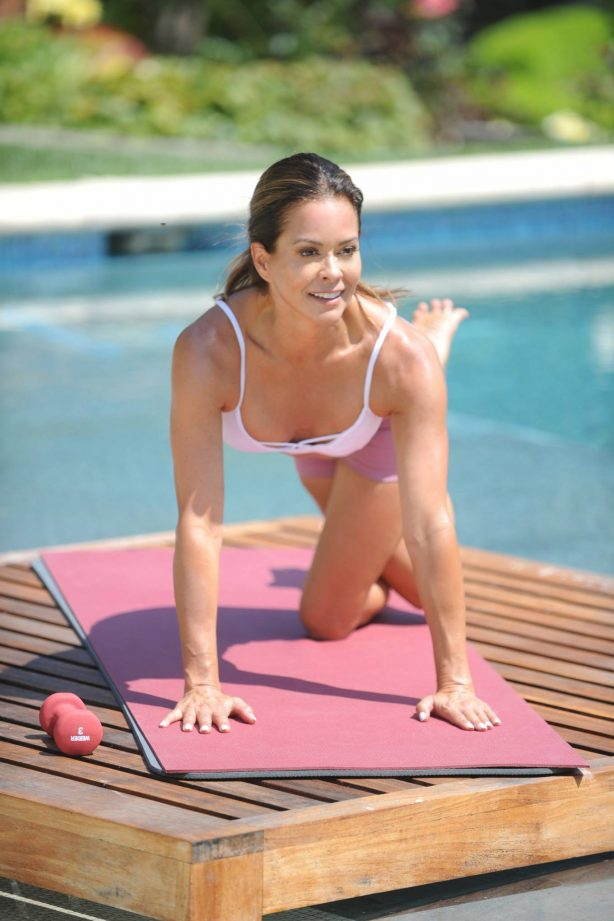Brooke Burke - Filming for her Brooke Burke Body app in Malibu