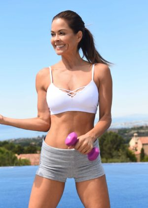 Brooke Burke - Filming her new fitness lifestyle app in Newport Coast