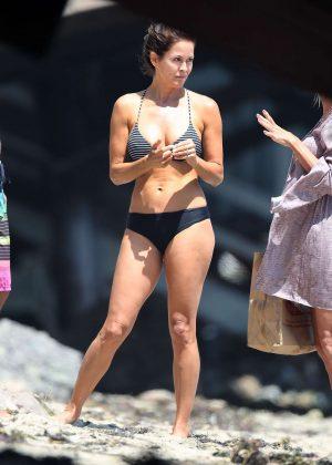 Brooke Burke in Bikini at her beach house in Malibu
