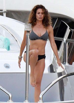 Brooke Burke in Bikini Doing Yoga on a Yacht in Amalfi