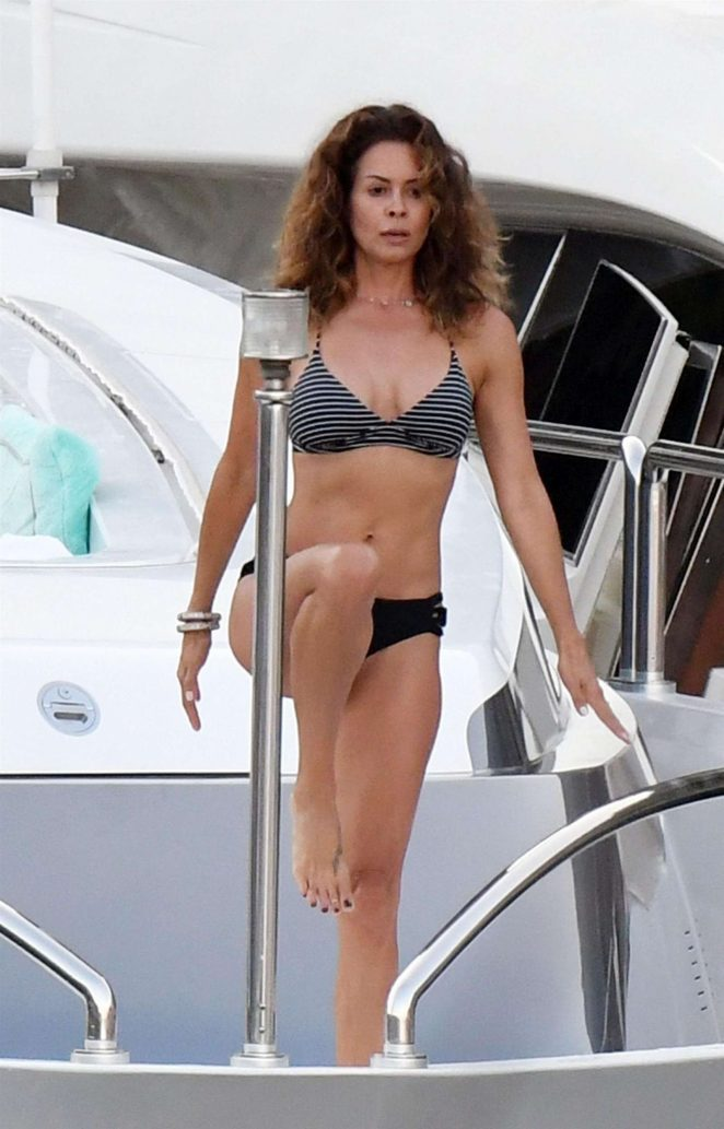 Brooke Burke in Bikini Doing Yoga on a Yacht in Amalfi