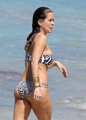 Brooke Burke in Bikini on the beach in St. Barts