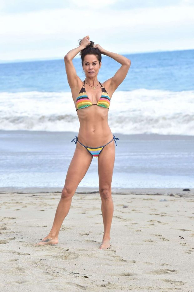 Brooke Burke in Colorful Bikini - Photoshoot on the Beach in Malibu