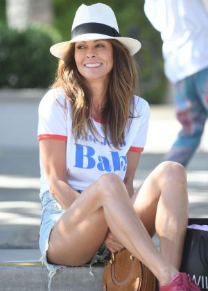 Brooke Burke in Denim Shorts - Shopping at Wild Fox and Urban Outfitters stores in Malibu