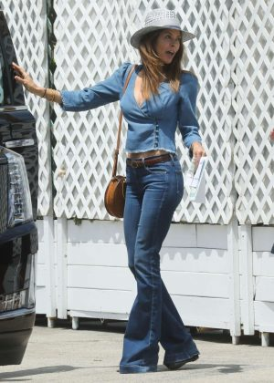 Brooke Burke in Jeans at Sunset Restaurant in Malibu