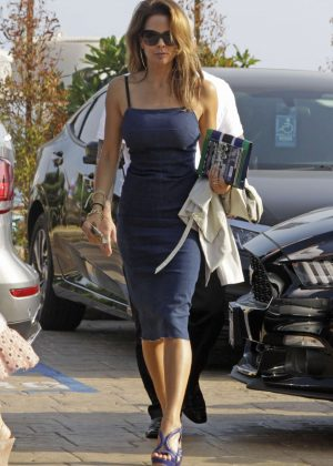 Brooke Burke in Jeans Dress at Nobu in Malibu