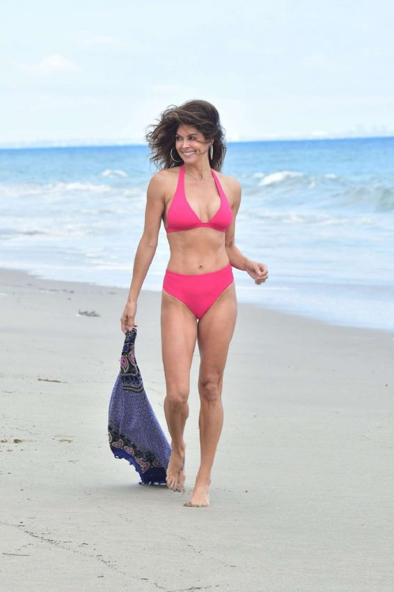 Brooke Burke in Red Bikini at the beach in Malibu