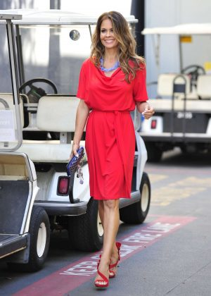 Brooke Burke in Red Dress at Universal Studios in LA